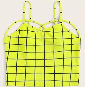 Yellow Black Crop top criss cross strappy Shein